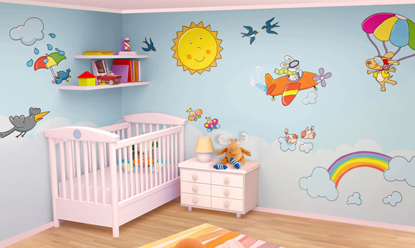 Decorazioni stanze bambini to24 regardsdefemmes for Idee pareti cameretta neonato